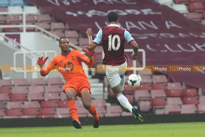 Paul McCallum of West Ham beats the Tottenham goalkeeper, Lawrence Vigouroux, but was unable to find the net- West Ham United Under-21 vs Tottenham Hotspur Under-21 - Barclays Under-21 Premier League Football at The Boleyn Ground, Upton Park, London - 23/08/13 - MANDATORY CREDIT: Paul Dennis/TGSPHOTO - Self billing applies where appropriate - 0845 094 6026 - contact@tgsphoto.co.uk - NO UNPAID USE