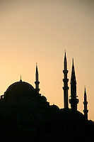 Silhouette of the Suleymaniye and Rustem Pasa mosques, Istanbul, Turkey