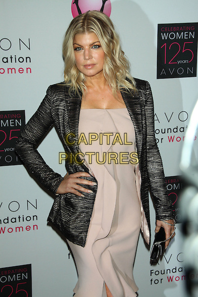 Fergie (Stacy Ann Ferguson / Black Eyed Peas).Avon Foundation for Women's Global Voices for Change Awards Gala at the Marriot Marquis Times Square, Neww York, USA.. 2nd November 2011.half length beige nude dress ruffle hand on hip grey gray jacket black clutch bag .CAP/LNC/TOM.©LNC/Capital Pictures.