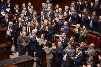 Roma, 16 Marzo 2013.Montecitorio, Camera dei Deputati.Secondo giorno in Aula della XVII Legislatura del Parlamento italiano.Elezione del Presidente.L'applauso del centro sinistra all'annuncio dell'avvenuta elezione di Laura Boldrini