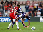 Samir Carruthers of Sheffield Utd upended by Cyrus Christie of Middlesbrough during the Championship match at the Riverside Stadium, Middlesbrough. Picture date: August 12th 2017. Picture credit should read: Simon Bellis/Sportimage