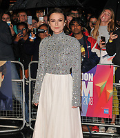 """Keira Knightley at the """"Colette"""" BFI Patron's film gala, 62nd BFI London Film Festival 2018, Cineworld Leicester Square, Leicester Square, London, England, UK, on Thursday 11 October 2018.<br /> CAP/CAN<br /> ©CAN/Capital Pictures /MediaPunch ***NORTH AND SOUTH AMERICAS ONLY***"""