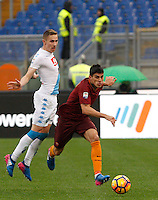 Roma&rsquo;s Diego Perotti, right, is challenged by Napoli&rsquo;s Marko Rog during the Italian Serie A football match between Roma and Napoli at Rome's Olympic stadium, 4 March 2017. <br /> UPDATE IMAGES PRESS/Riccardo De Luca