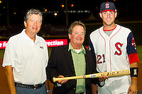 "Travis Shaw (right) of the Salem Red Sox accepts his ""Top Star Award"" from Winston-Salem Dash owner Billy Prim (right) and Carolina League President John Hopkins (center) at BB&T Ballpark on June 19, 2012 in Winston-Salem, North Carolina.  The Carolina League defeated the California League 9-1.  (Brian Westerholt/Four Seam Images)"