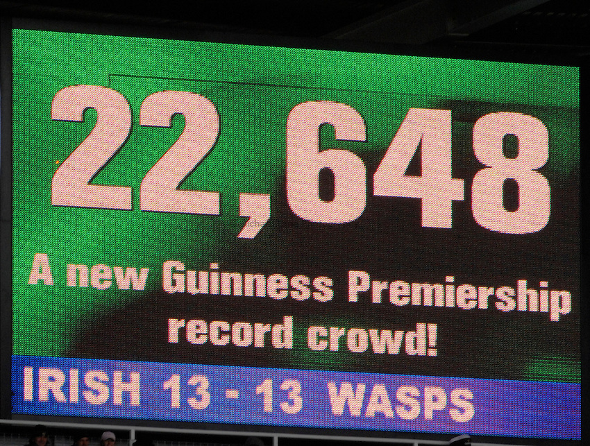 Photo: Richard Lane..London Irish v London Wasps. Guinness Premiership. 18/03/2007..The scoreboard showing the record attendence of 22648 for an English league club game.
