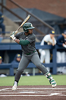Michigan State Spartans outfielder Zaid Walker (3) at bat in the NCAA baseball game against the Michigan Wolverines on May 7, 2019 at Ray Fisher Stadium in Ann Arbor, Michigan. Michigan defeated Michigan State 7-0. (Andrew Woolley/Four Seam Images)
