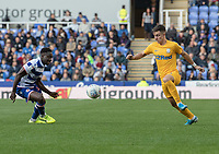 Preston North End's Josh Harrop (right) vies for possession with Reading's Andy Yiadom (left) <br /> <br /> Photographer David Horton/CameraSport<br /> <br /> The EFL Sky Bet Championship - Reading v Preston North End - Saturday 19th October 2019 - Madejski Stadium - Reading<br /> <br /> World Copyright © 2019 CameraSport. All rights reserved. 43 Linden Ave. Countesthorpe. Leicester. England. LE8 5PG - Tel: +44 (0) 116 277 4147 - admin@camerasport.com - www.camerasport.com