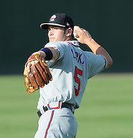 Infielder Matt Lipka (5) of the Rome Braves, Class A affiliate of the Atlanta Braves, prior to a game against the Greenville Drive on July 17, 2011, at Fluor Field at the West End in Greenville, South Carolina. Lipka was Atlanta's first-round pick in the 2010 First-Year Player Draft. (Tom Priddy/Four Seam Images)
