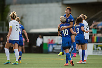 Seattle, Washington - Saturday, July 2nd, 2016: Seattle Reign FC forward Nahomi Kawasumi (36) celebrates her goal with Seattle Reign FC midfielder Jessica Fishlock (10) during a regular season National Women's Soccer League (NWSL) match between the Seattle Reign FC and the Boston Breakers at Memorial Stadium. Seattle won 2-0.