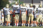 Beverly Hills, CA 09/23/11 - Andrew Phillips (Peninsula #11), Jason Burr (Peninsula #26), Rory Hubbard (Peninsula #33), Ashton Jones (Peninsula #58) and Takuma Takahashi (Peninsula #21) in action during the Peninsula-Beverly Hills frosh football game at Beverly Hills High School.