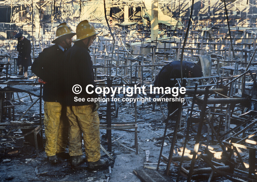Stardust Fire Tragedy, Stardust Nightclub, Artane, Dublin, Ireland, early hours, 14th February 1981, Valentine's Day, in which 48 died and 214 were injured -  police and firemen sift through the debris.  198102140001..Copyright Image from Victor Patterson, 54 Dorchester Park, Belfast, United Kingdom, UK...For my Terms and Conditions of Use go to http://www.victorpatterson.com/Victor_Patterson/Terms_%26_Conditions.html