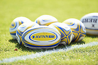 A general view of Aviva Premiership branded rugby balls. Aviva Premiership match, between Bath Rugby and Newcastle Falcons on September 23, 2017 at the Recreation Ground in Bath, England. Photo by: Patrick Khachfe / Onside Images