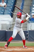 Clearwater Threshers Jonathan Singleton #3 at bat during a game against the Tampa Yankees at Steinbrenner Field on June 22, 2011 in Tampa, Florida.  The game was suspended due to rain in the 10th inning with a score of 2-2.  (Mike Janes/Four Seam Images)