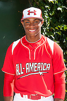 Outfielder Corey Ray #1 of Simeon High School in Illinois poses for a photo before participating in the Under Armour All-American Game powered by Baseball Factory at Wrigley Field on August 18, 2012 in Chicago, Illinois.  (Mike Janes/Four Seam Images)
