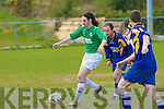 I'm behind you!: Jerome O'Dowd of Mainebank keeps close to Rue Hennessy, Tralee Celtic in the Denny League DIV 2 on Sunday at Mounthawk Park.
