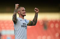 Peterborough United's Joe Ward celebrates the win at the end of the game<br /> <br /> Photographer Chris Vaughan/CameraSport<br /> <br /> The EFL Sky Bet League One - Scunthorpe United v Peterborough United - Saturday 13th October 2018 - Glanford Park - Scunthorpe<br /> <br /> World Copyright © 2018 CameraSport. All rights reserved. 43 Linden Ave. Countesthorpe. Leicester. England. LE8 5PG - Tel: +44 (0) 116 277 4147 - admin@camerasport.com - www.camerasport.com