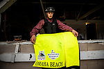 LOUISVILLE, KENTUCKY - APRIL 30: Exercise rider Taylor Cambra hangs a saddle towel of favorite Omaha Beach after completing preparation for the Kentucky Derby at Churchill Downs in Louisville, Kentucky on April 30, 2019. Evers/Eclipse Sportswire/CSM