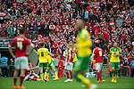 Norwich City 2 Middlesbrough 0, 25/05/2015. Wembley Stadium, Championship Play Off Final. Norwich celebrations and Middlesbrough dejection at the final whistle. A match worth £120m to the victors. On the day Norwich City secured an instant return to the Premier League with victory over Middlesbrough in front of 85,656. Photo by Simon Gill.