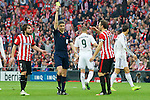 Football match during La Liga between the teams Athletic Club &. Real Madrid in San Mames Berria Stadium in Bilbao.<br /> Bilbao, 7/03/2015<br /> xxxxxxx in action with xxxxxxx<br /> PHOTOCALL3000 / DyD