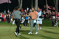 Matthias Schwab (AUT) & Tyrrell Hatton (ENG) during the final round of the Turkish Airlines Open, Montgomerie Maxx Royal Golf Club, Belek, Turkey. 10/11/2019<br /> Picture: Golffile | Phil INGLIS<br /> <br /> <br /> All photo usage must carry mandatory copyright credit (© Golffile | Phil INGLIS)