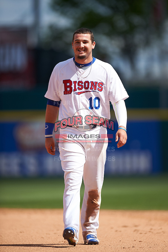 Buffalo Bisons center fielder Darrell Ceciliani (10) during a game against the Toledo Mudhens on May 18, 2016 at Coca-Cola Field in Buffalo, New York.  Buffalo defeated Toledo 7-5.  (Mike Janes/Four Seam Images)