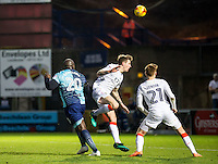 Adebayo Akinfenwa of Wycombe Wanderers scores to level the score during the Sky Bet League 2 match between Wycombe Wanderers and Luton Town at Adams Park, High Wycombe, England on the 21st January 2017. Photo by Liam McAvoy.