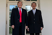 United States President Donald J. Trump poses for a photo with the Prime Minister of the Czech Republic Andrej Babis as they prepare to enter the Oval Office ahead of a bilateral meeting at the White House in Washington, D.C. on March 7, 2019. <br />   <br /> CAP/MPI/CNP/AE<br /> &copy;AE/CNP/MPI/Capital Pictures