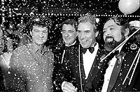 Robert Charlebois, <br /> George Whelan,<br /> Serge Laprade , maitre de ceremonie du Telethon pour la paralysie cerebrale de 1984 ainsi que<br />  Serge Turgeon <br /> lors du devoilement des resultats,le 1 fevrier 1985, au Complexe Desjardins.<br /> <br /> PHOTO : Agence Quebec Presse<br />  - Pierre Roussel
