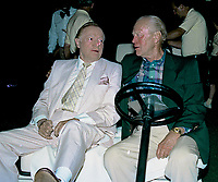 Winston-Salem, North Carolina, USA, May 31, 1991<br /> Bob Hope and Former President Gerald R. Ford sit in a golf cart while greeting fans and guests at the annual Bill Crosby Clambake Golf Tournament at the Bermuda Run Country Club. Credit: Mark Reinstein/MediaPunch