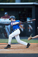 Trent Little (1) of Mooresville Post 66 follows through on his swing against Kannapolis Post 115 during an American Legion baseball game at Northwest Cabarrus High School on May 30, 2019 in Concord, North Carolina. Mooresville Post 66 defeated Kannapolis Post 115 4-3. (Brian Westerholt/Four Seam Images)