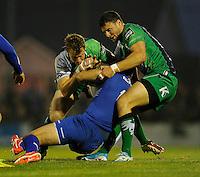 19th September 2014; <br /> Leinster's Rob Kearney is tackled by Danie Poolman and Robbie Henshaw of Connacht.<br /> Guinness PRO12, Connacht v Leinster . <br /> The Sportsground, Galway. <br /> Picture credit: Tommy Grealy/actionshots.ie
