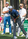 Mardy Fish watches his drive on the 4th hole during the American Century Championship at Edgewood Tahoe Golf Course in Stateline, Nevada, Saturday, July 14, 2018.