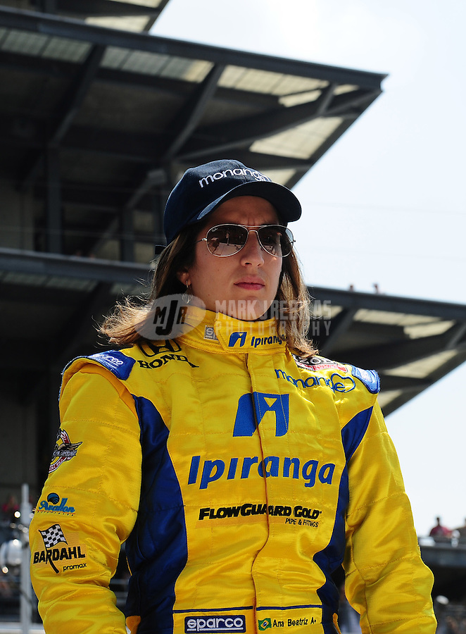 May 30, 2010; Indianapolis, IN, USA; IndyCar Series driver Ana Beatriz (25) during the Indianapolis 500 at the Indianapolis Motor Speedway. Mandatory Credit: Mark J. Rebilas-