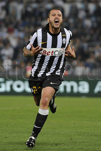 02.05.2011. The only goal of the game scored by Simone Pepe was enough to beat Lazio and keep Juventus in the hunt for a Champions League place next season. Picture shows Simone Pepe celebrating his goal for Juventus.