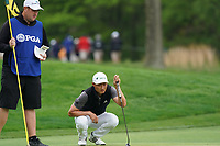 Haotong Li (CHN) on the 13th green during the 2nd round at the PGA Championship 2019, Beth Page Black, New York, USA. 18/05/2019.<br /> Picture Fran Caffrey / Golffile.ie<br /> <br /> All photo usage must carry mandatory copyright credit (&copy; Golffile | Fran Caffrey)