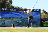 James Heath (ENG) in action on the 3rd during Round 1 of the ISPS Handa World Super 6 Perth at Lake Karrinyup Country Club on the Thursday 8th February 2018.<br /> Picture:  Thos Caffrey / www.golffile.ie<br /> <br /> All photo usage must carry mandatory copyright credit (&copy; Golffile | Thos Caffrey)