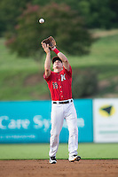 Kannapolis Intimidators second baseman Ethan Gross (18) catches a pop fly during the game against the Hagerstown Suns at CMC-Northeast Stadium on August 16, 2015 in Kannapolis, North Carolina.  The Suns defeated the Intimidators 4-3 in game two of a double-header.  (Brian Westerholt/Four Seam Images)