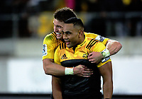 Beauden Barrett congratulates Ngani Laumpae on his second try during the Super Rugby match between the Hurricanes and Stormers at Westpac Stadium in Wellington, New Zealand on Friday, 5 May 2017. Photo: Mike Moran / lintottphoto.co.nz