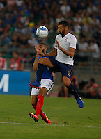 Layvin Kurzawa  and Antonio Candreva  during the  friendly  soccer match,between Italy  and  France   at  the San  Nicola   stadium in Bari Italy , September 01, 2016<br /> <br /> amichevole di calcio tra le nazionali di Italia e Francia