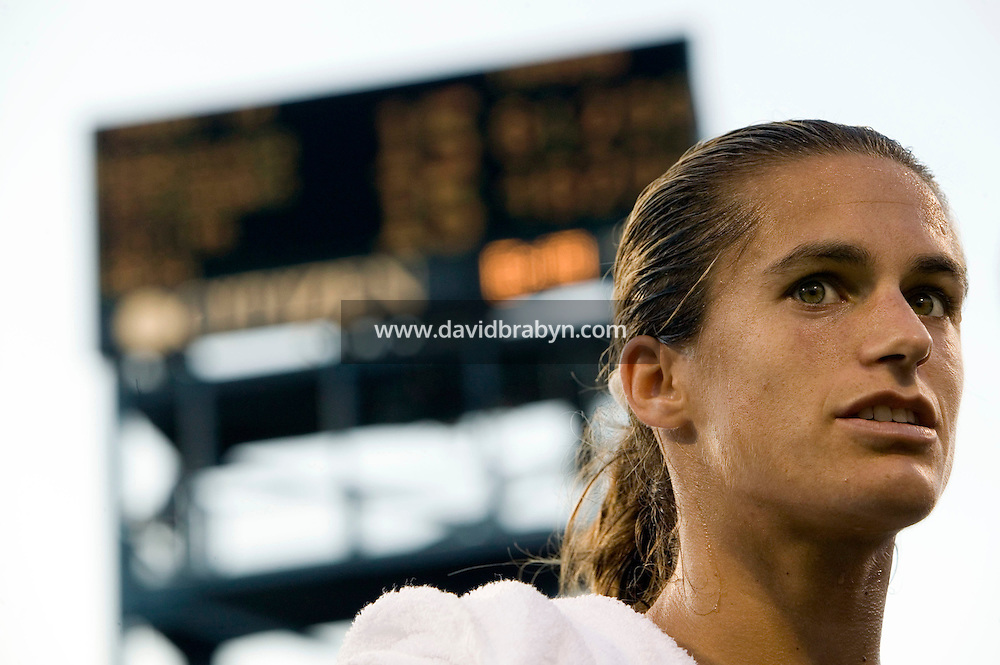 5 September 2005 - Flushing, NY - Amelie Mauresmo from France gives an interview after defeating Elena Likhovtseva from Russia (not pictured) in a 4th round match of the US tennis Open on the Louis Amstrong court at the National Tennis Center in Flushing, USA, 5 September 2005. Mauresmo won 6-1, 6-4. Photo Credit: David Brabyn