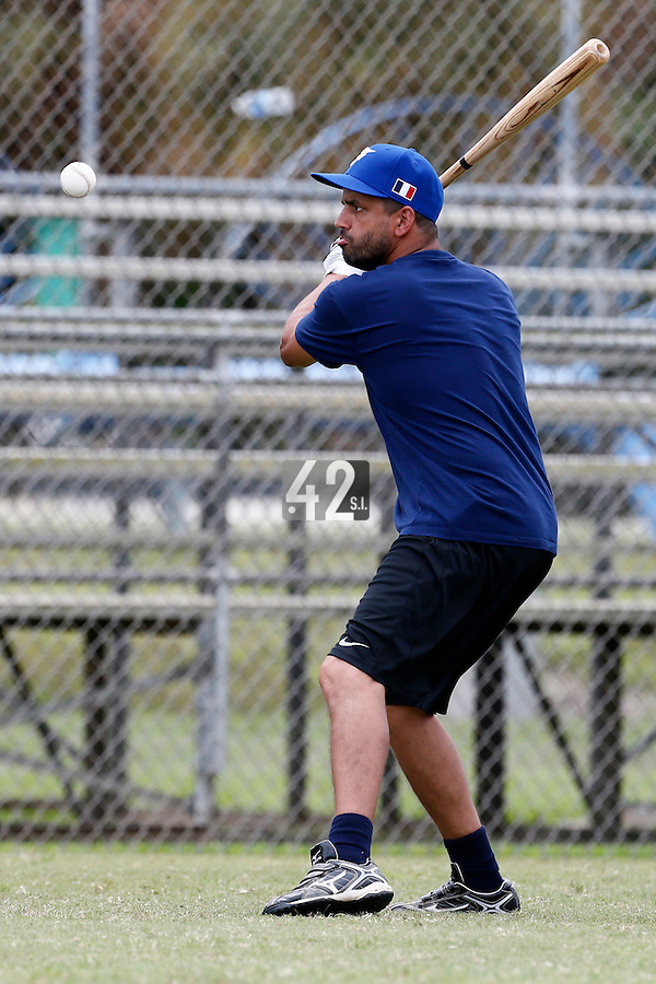 19 September 2012: France Jamel Boutagra hits the ball prior to Team France friendly game won 6-3 against Palm Beach State College, during the 2012 World Baseball Classic Qualifier round, in Lake Worth, Florida, USA.