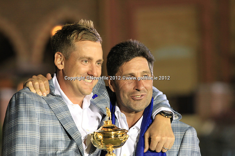 Winning European Team Captain Jose Maria Olazabal (ESP) and Ian Poulter (ENG) after Sunday's Singles Matches of the 39th Ryder Cup at Medinah Country Club, Chicago, Illinois 30th September 2012 (Photo Colum Watts/www.golffile.ie)