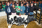 Brendan O'Connor Beaufort, who Heifer was the Supreme champion at the Wealing Show and Sale at Gortatlea Mart, on Wednesday evening and Brendan was presented with the Champion Cup from Noreen Walsh (Branch Manager AIB Mallow), l-r: Ger O'Connor (Manager AIB Castleisland), Noreen Walsh ( Branch Manager AIB Mallow), Brendan O'Connor, Mike Brady (Judge Kilflynn), Eddie Bowler (Relationship Manager AIB Castleisland) and Maurice Brosnan (owner Gortatlea Mart).