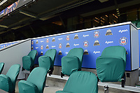 A general view of the coaches' box signage. The Clash, Aviva Premiership match, between Bath Rugby and Leicester Tigers on April 8, 2017 at Twickenham Stadium in London, England. Photo by: Patrick Khachfe / Onside Images