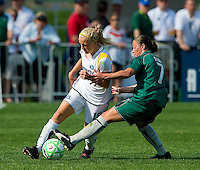 St Louis Athletica midfielder Lisa Stoia (7) attempts to knock the ball away from Los Angeles Sol midfielder Katie Larkin (18) during a WPS match at Hermann Stadium, in St. Louis, MO, April 25 2009. The match ended in a 0-0 tie.