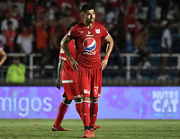 CALI - COLOMBIA-10-02-2019: Julian Guevara del América luce decepcionado después partido por la fecha 4 de la Liga Águila I 2019 entre América de Cali y Atlético Junior jugado en el estadio Pascual Guerrero de la ciudad de Cali. / Julian Guevara of America looks disappointed after match for the date 4 as part of Aguila League I 2019 between America Cali and Atletico Junior played at Pascual Guerrero stadium in Cali. Photo: VizzorImage / Gabriel Aponte / Staff