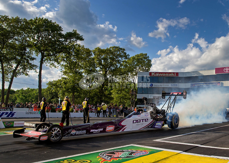 May 30, 2014; Englishtown, NJ, USA; NHRA top fuel driver Leah Pritchett during qualifying for the Summernationals at Raceway Park. Mandatory Credit: Mark J. Rebilas-
