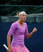 June 12th 2017,  Nottingham, England; WTA Aegon Nottingham Open Tennis Tournament day 1; Yanina Wickmayer of Belgium celebrates as she beats Elizaveta Kulichkova of Russia 6-4 6-4