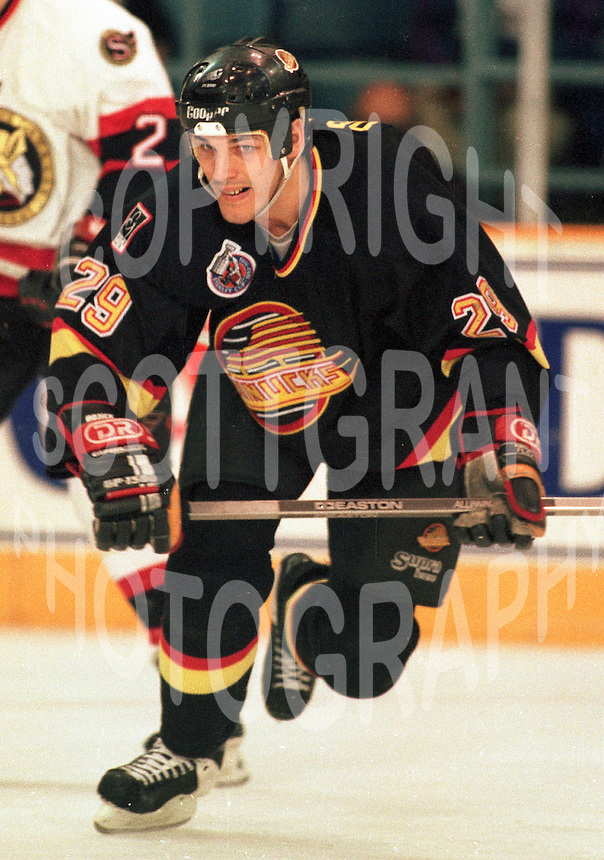 Gino Odjick Vancouver Canucks 1993. Photo F. Scott Grant