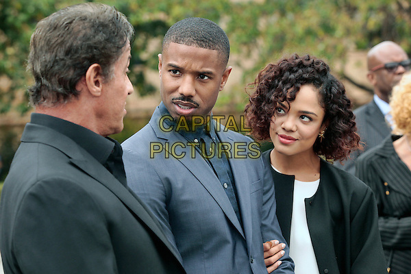 PHILADELPHIA, PA - NOVEMBER 6: Sylvester Stallone, Michael B Jordan and Tessa Thompson pictured as the Cast Of Creed make an appearance at Philadelphia Museum of Art on November 6, 2015 in Philadelphia, Pennsylvania. <br /> CAP/MPI09<br /> &copy;MPI09/Capital Pictures